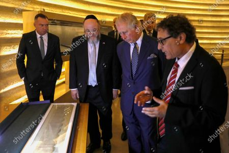 Britain's Prince Charles (C) alongside British Chief Rabbi Ephraim Mirvis listen to Curator of the Shrine of the Book Adolfo Roitman (R) during a visit to the Shrine of the Book at the Israel Museum in Jerusalem, Israel, 23 January 2020. Prince Charles is attending the World Holocaust Forum during a tour of Israel and Occupied Palestinian Territories.