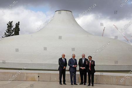 (L-R) Israel Museum Chairman Issac Molcho, Britain's Prince Charles, Curator of the Shrine of the Book Adolfo Roitman, and British Chief Rabbi Ephraim Mirvis walk outside the Shrine of the Book at the Israel Museum in Jerusalem, Israel, 23 January 2020. Prince Charles is attending the World Holocaust Forum during a tour of Israel and Occupied Palestinian Territories.