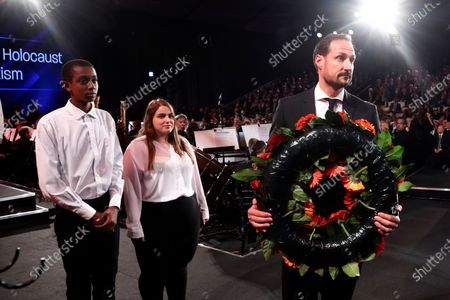 Norway's Crown Prince Haakon takes part in a wreath-laying ceremony at the Fifth World Holocaust Forum at the Yad Vashem Holocaust memorial museum in Jerusalem, Israel, 23 January 2020. The event marking the 75th anniversary of the liberation of Auschwitz under the title 'Remembering the Holocaust: Fighting Antisemitism' is held to preserve the memory of the Holocaust atrocities by Nazi Germany during World War II.