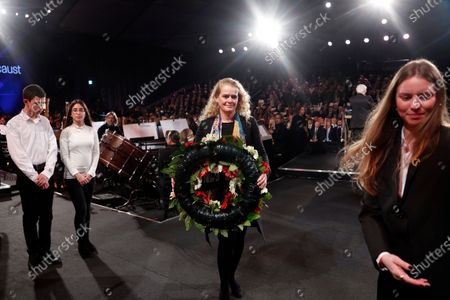 Canada's Governor General Julie Payette takes part in a wreath-laying ceremony at the Fifth World Holocaust Forum at the Yad Vashem Holocaust memorial museum in Jerusalem, Israel, 23 January 2020. The event marking the 75th anniversary of the liberation of Auschwitz under the title 'Remembering the Holocaust: Fighting Antisemitism' is held to preserve the memory of the Holocaust atrocities by Nazi Germany during World War II.