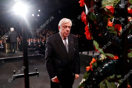 Greek President Prokopis Pavlopoulos takes part in a wreath-laying ceremony at the Fifth World Holocaust Forum at the Yad Vashem Holocaust memorial museum in Jerusalem, Israel, 23 January 2020. The event marking the 75th anniversary of the liberation of Auschwitz under the title 'Remembering the Holocaust: Fighting Antisemitism' is held to preserve the memory of the Holocaust atrocities by Nazi Germany during World War II.