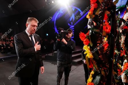 Romania's president Klaus Iohannis takes part in a wreath-laying ceremony at the Fifth World Holocaust Forum at the Yad Vashem Holocaust memorial museum in Jerusalem, Israel, 23 January 2020. The event marking the 75th anniversary of the liberation of Auschwitz under the title 'Remembering the Holocaust: Fighting Antisemitism' is held to preserve the memory of the Holocaust atrocities by Nazi Germany during World War II.