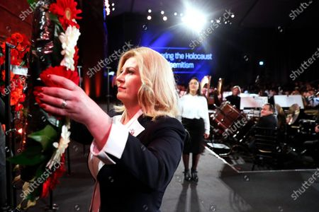 Croatia's President Kolinda Grabar-Kitarovic takes part in a wreath-laying ceremony at the Fifth World Holocaust Forum at the Yad Vashem Holocaust memorial museum in Jerusalem, Israel, 23 January 2020. The event marking the 75th anniversary of the liberation of Auschwitz under the title 'Remembering the Holocaust: Fighting Antisemitism' is held to preserve the memory of the Holocaust atrocities by Nazi Germany during World War II.