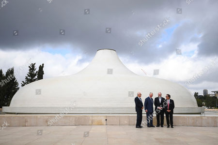 Britain's Prince Charles, second left, and Chief Rabbi Ephraim Mirvis, second right, visit the Shrine of the Book at the Israel Museum in Jerusalem, . Prince Charles is among dozens of presidents, heads of state and dignitaries who have descended upon the city to attend the largest-ever gathering focused on commemorating the Holocaust and combating modern-day anti-Semitism