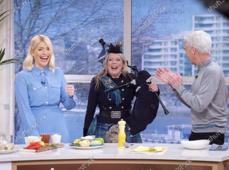 Phillip Schofield and Holly Willoughby with Louise Marshall