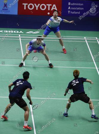 China's Huang Kai Xiang and Liu Cheng (top R) in action against Taipei's Lu Ching Yao and Yang Po Han during their men's doubles match of the Badminton Princess Sirivannavari Thailand Masters 2020 in Bangkok, Thailand, 23 January 2020.