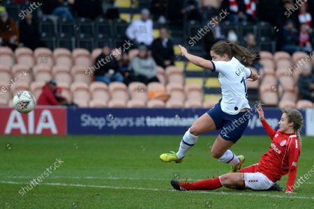 Kit Graham of Tottenham Hotspur Women and Darcie Greene of Barnsley Women in action during the WomenÕs FA Cup Fourth Round match between Tottenham Hotspur Women and Barnsley Women at The Hive Stadium in London, UK - 26th January 2020