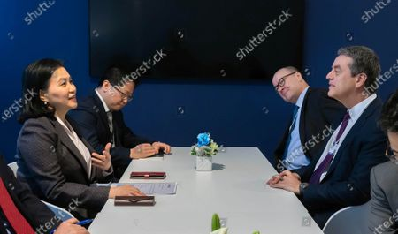 South Korean Trade Minister Yoo Myung-hee (L) holds talks with WTO Director-General Roberto Azevedo (R) on the sidelines of the World Economic Forum (WEF) in Davos, Switzerland, 23 January 2020. The meeting brings together entrepreneurs, scientists, corporate and political leaders in Davos under the topic 'Stakeholders for a Cohesive and Sustainable World' from 21 to 24 January 2020.