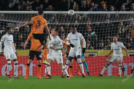 25th January 2020, KC Stadium, Kingston upon Hull, England; Emirates FA Cup, Hull City v Chelsea : Ryan Tafazolli (3) of Hull City heads the ball which is stopped by César Azpilicueta (28) of Chelsea