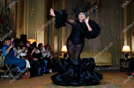 Spanish actress Rossy de Palma presents a creation from the Spring/Summer 2020 Haute Couture collection by Spanish designer Juana Martin during the Paris Fashion Week, in Paris, France, 23 January 2020. The presentation of the Haute Couture collections runs from 20 to 23 January 2020.