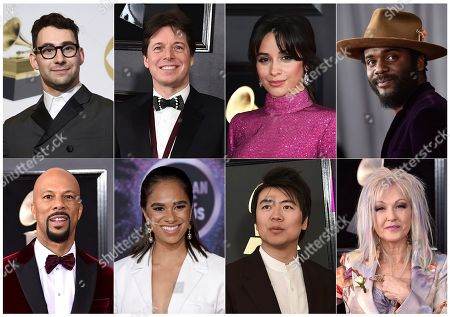 "Stock Image of This combination of photos shows, top row from left, Jack Antonoff, Joshua Bell, Camila Cabello, Gary Clark Jr., bottom row from left, Common, ballerina Misty Copeland, Lang Land and Cyndi Lauper who will perform ""I Sing The Body Electric"" along with John Legend and War and Treaty at the Grammy Awards on Sunday"