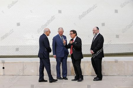 From L-R Israel Museum Chairman Issac Molcho, Britain's Prince Charles, Curator of the Shrine of the Book Adolfo Roitman, and British Chief Rabbi Ephraim Mirvis visit the Shrine of the Book at the Israel Museum in Jerusalem on 23 January 2020.