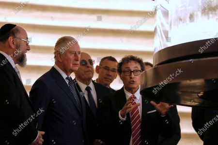 From L-R British Chief Rabbi Ephraim Mirvis and Britain's Prince Charles visit the Shrine of the Book at the Israel Museum in Jerusalem, 23 January 2020.