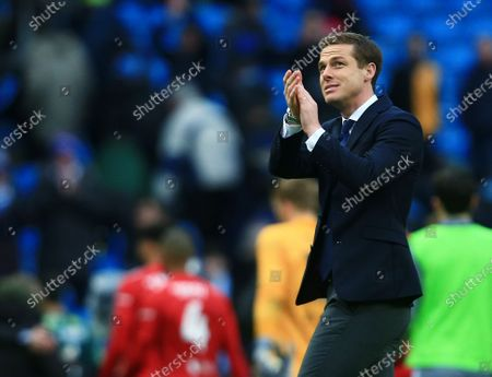 Fulham manager Scott Parker thanks the fans at the end of the game