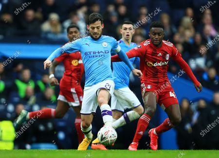 David Silva of Manchester City and Steven Sessegnon of Fulham