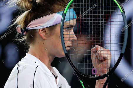 Elina Svitolina of Ukraine reacts during her women's singles second round match against Lauren Davis of USA at the Australian Open Grand Slam tennis tournament in Melbourne, Australia, 24 January 2020.
