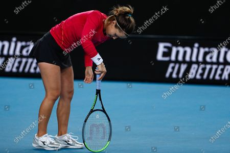 Lauren Davis of USA reacts during her women's singles second round match against Elina Svitolina of Ukraine at the Australian Open Grand Slam tennis tournament in Melbourne, Australia, 24 January 2020.
