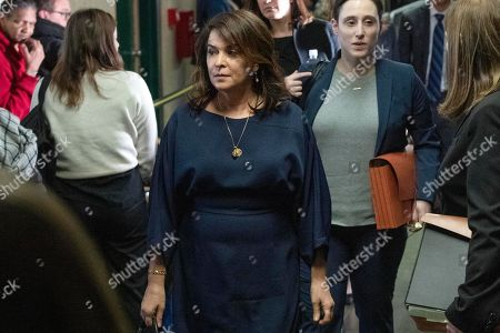 Actress Annabella Sciorra, center, leaves the Harvey Weinstein rape trial during a lunch break, in New York