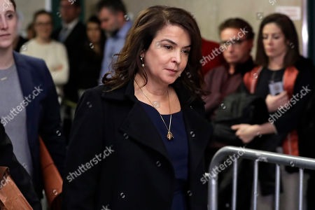 Actress Annabella Sciorra returns after a lunch break in Harvey Weinstein's rape trial, in New York