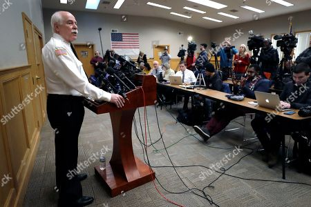 Stock Image of Bristol County Sheriff Thomas Hodgson speaks to the media after Michelle Carter was released from the Bristol County jail, in Dartmouth, Mass. Carter served most of a 15-month manslaughter sentence for urging her suicidal boyfriend to kill himself in 2014
