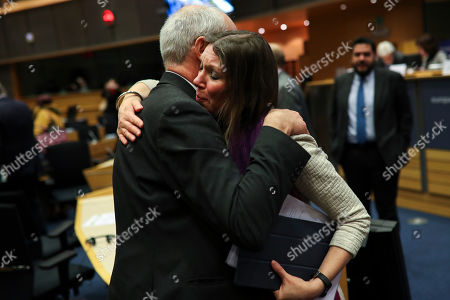 Aileen McLeod, Richard Corbett. Scottish European Parliament member Aileen McLeod, right, hugs British European Parliament member Richard Corbett at the end of an European Parliament's constitutional affairs committee meeting for Brexit at the European Parliament in Brussels, . Hours after the deal received royal assent from Queen Elizabeth II, an influential European Parliament's committee endorsed the withdrawal agreement, paving the way for Britain to leave the 28-country bloc next week