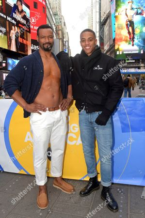 "Isaiah Mustafa, Keith Powers. Old Spice celebrates the 10-year anniversary of its viral ""Smell Like a Man, Man"" campaign with the return of the original Old Spice Guy, Isaiah Mustafa, left, and his newly-introduced Old Spice son Keith Powers (Straight Outta Compton, What/If, The New Edition Story fame) in New York's iconic Times Square, . The event also introduced the NEW ""Smell Like Your Own Man, Man"" campaign and the Ultra Smooth lineup, featuring subtle scents and dermatologist-tested formulas"