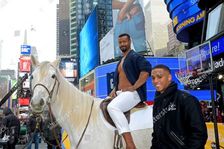 "Isaiah Mustafa, Keith Powers. Old Spice celebrates the 10-year anniversary of its viral ""Smell Like a Man, Man"" campaign with the return of the original Old Spice Guy, Isaiah Mustafa, sitting atop his trademark horse alongside his newly-introduced Old Spice son Keith Powers (Straight Outta Compton, What/If, The New Edition Story fame) in New York's iconic Times Square, . The event also introduced the NEW ""Smell Like Your Own Man, Man"" campaign and the Ultra Smooth lineup, featuring subtle scents and dermatologist-tested formulas"