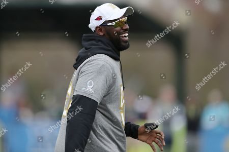 NFC outside linebacker Chandler Jones, of the Arizona Cardinals, smiles during Pro Bowl NFL football practice, in Kissimmee, Fla