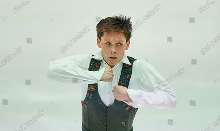 Stock Photo of Alexander Lebedev of Belarus during Men Free Skating at ISU European Figure Skating Championships in Steiermarkhalle, Graz, Austria