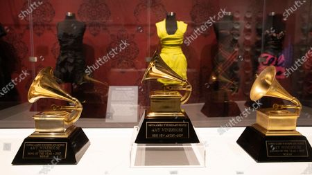 Stock Photo of Dresses worn by late British musician Amy Winehouse and Grammy awards are shown as part of the 'Beyond Black - The Style of Amy Winehouse' exhibit at the Grammy Museum in Los Angeles, California, USA, 20 January 2020 (issued 23 January 2020). The event kicks off Grammy week.