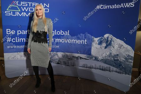 US alpine ski racer Lindsey Vonn attends a charity dinner hosted by US actor Arnold Schwarzenegger to draw more attention to the important issue of climate protection and innovation in Kitzbuehel, Austria, 23 January 2020.