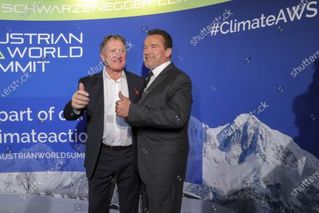 Actor and former Governor of the State of California (US) Arnold Schwarzenegger (R) with Former Austrian Alpine ski racer Franz Klammer (L) arrive for a charity dinner he is hosting to draw more attention to the important issue of climate protection and innovation in Kitzbuehel, Austria, 23 January 2020.