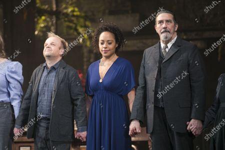 Toby Jones (Vanya), Rosalind Eleazar (Yelena) and Ciaran Hinds (Serebryakov) during the curtain call