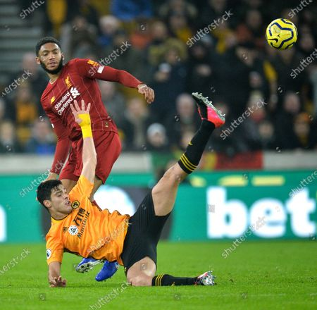 Stock Picture of Wolverhampton Wanderers's Raul Jimenez (R) in action against Liverpool's Joe Gomez (L) during the English Premier League soccer match between Liverpool FC and Wolverhampton Wanderers FC held at Molineux Stadium in Wolverhampton, Britain, 23 January 2020.