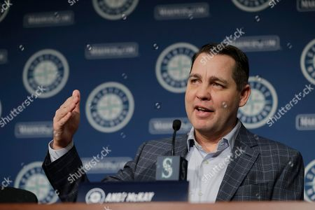 Seattle Mariners director of player development Andy McKay speaks, in Seattle during the Seattle Mariners annual news conference before the start of Spring Training baseball