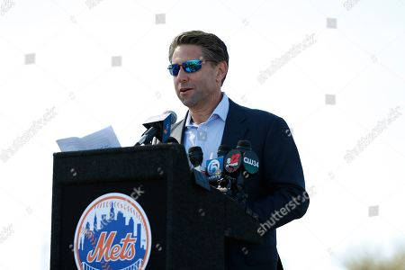 Stock Picture of New York Mets COO Jeff Wilpon speaks during a street naming ceremony in front of the Mets spring training facility, in Port St. Lucie, Fla