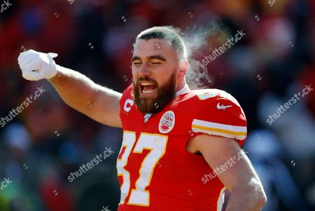 Kansas City Chiefs tight end Travis Kelce before the start of an NFL, AFC Championship football game against the Tennessee Titans, in Kansas City, MO. The Chiefs won 35-24 to advance to Super Bowl 54