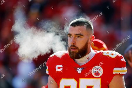 Stock Image of Kansas City Chiefs tight end Travis Kelce before the start of an NFL, AFC Championship football game against the Tennessee Titans, in Kansas City, MO. The Chiefs won 35-24 to advance to Super Bowl 54