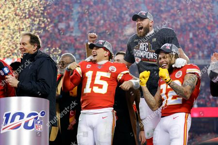 Kansas City Chiefs' Patrick Mahomes, left, Travis Kelce, center, and Tyrann Mathieu, right, celebrate after winning a NFL, AFC Championship football game against the Tennessee Titans, in Kansas City, MO. The Chiefs won 35-24 to advance to Super Bowl 54