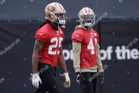 San Francisco 49ers cornerback Richard Sherman (25) and defensive back Emmanuel Moseley (41) practice at the team's NFL football training facility in Santa Clara, Calif., . The 49ers will face the Kansas City Chiefs in Super Bowl 54