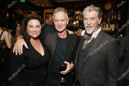 Stock Image of Keely Shaye Smith, Sting and Pierce Brosnan