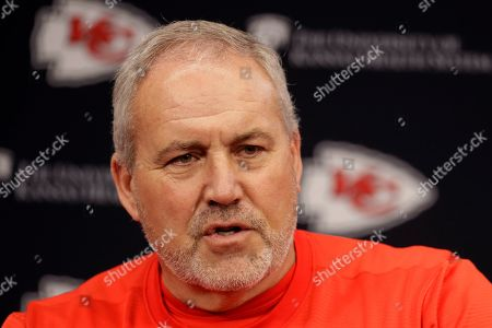 Kansas City Chiefs special teams coach Dave Toub addresses the media during an NFL football news conference at Arrowhead Stadium in Kansas City, Mo. The Chiefs will face the San Francisco 49ers in Super Bowl 54