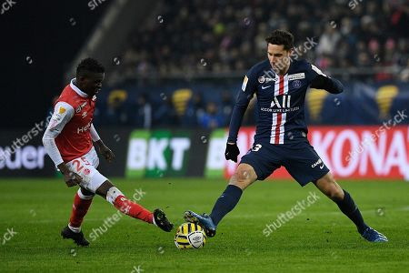 Stock Image of Julian Draxler of PSG and Moussa Doumbia of Stade Reims