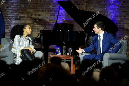 Pete Buttigieg, Angela Rye. Democratic presidential candidate and former South Bend, Ind., Mayor Pete Buttigieg speaks during a podcast taping with Angela Rye, left, at Claflin University,, in Orangeburg, S.C