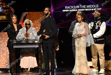 Stock Picture of Nipsey Hussle's family - Best Rap Performance - Racks in the Middle