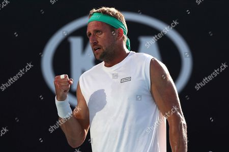 Tennys Sandgren of the U.S. reacts as he plays compatriot Sam Querrey in their third round singles match at the Australian Open tennis championship in Melbourne, Australia