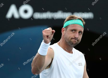 Tennys Sandgren of the U.S. gestures after defeating compatriot Sam Querrey in their third round singles match at the Australian Open tennis championship in Melbourne, Australia