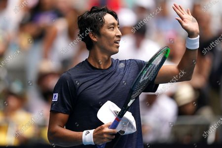 Min-Kyu Song of Korea celebrates winning his first round doubles match with Ji Sung Nam of Korea against Jordan Thompson and Lleyton Hewitt of Australia on day five of the Australian Open tennis tournament at Melbourne Park in Melbourne, Australia, 24 January 2020.