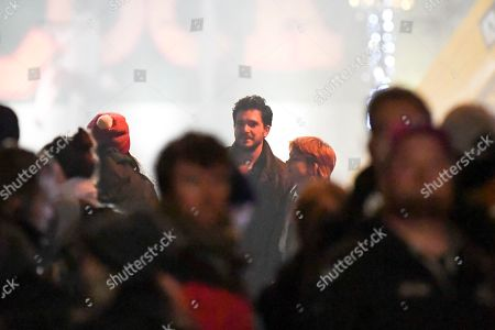 Stock Image of Actor Kit Harrington, center, takes part in the filming of a Marvel film at Camden in London