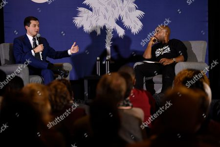 Pete Buttigieg, Charlamagne Tha God. Democratic presidential contender and former South Bend, Indiana, Mayor Pete Buttigieg speaks with Charlamagne Tha God during an event on economic struggles in the black community, in Moncks Corner, S.C